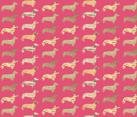 Dachshund Paperback Dogs Pink fabric by janinez on Spoonflower - custom fabric