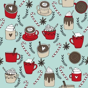 hot chocolate // cocoa coffee cute holiday peppermint hot chocolates drinks food christmas fabrics andrea lauren