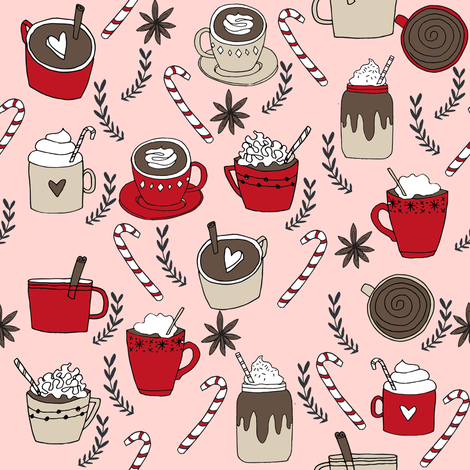 hot chocolate // christmas winter cocoa peppermint latte coffee cocoa hot chocolates cute christmas drinks fabric by andrea_lauren on Spoonflower - custom fabric
