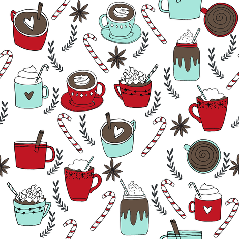 hot chocolate fabric // hot cocoa christmas fabric peppermint coffee peppermint drinks cute holiday hot chocolates fabric by andrea_lauren on Spoonflower - custom fabric