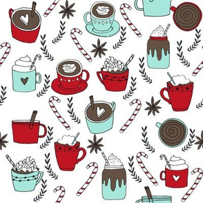 hot chocolate fabric // hot cocoa christmas fabric peppermint coffee peppermint drinks cute holiday hot chocolates