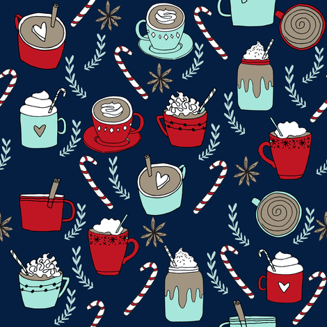 hot cocoa // hot chocolate coffee peppermint latte christmas winter holiday drinks coffees cute cafe holiday fabrics fabric by andrea_lauren on Spoonflower - custom fabric