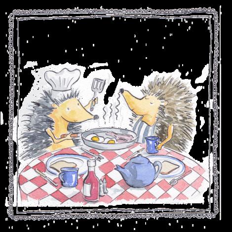 hedgehog fry up fabric by woodledoo on Spoonflower - custom fabric