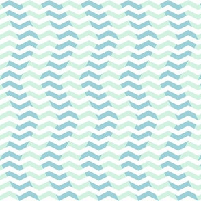 wavy chevron - light blue, mint and white