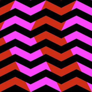 wavy chevron - red, hot pink and black