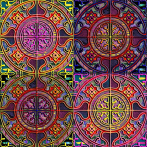MANDALA TILES CHECK Original burgundy pink orange yellow