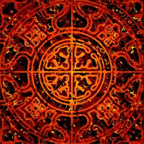 MANDALA TILES FIRE FLAME ORANGE FALL