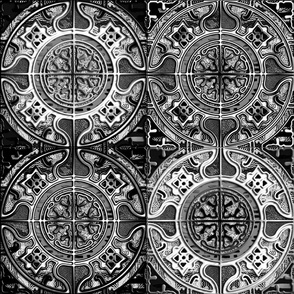 MANDALA TILES CHECK BLACK AND WHITE STONES