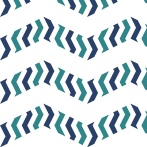 zebra chevron - navy and teal