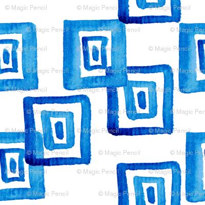 traditional blue  Greek pattern in watercolor