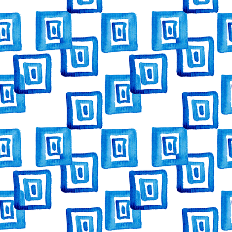 traditional blue  Greek pattern in watercolor fabric by magic_pencil on Spoonflower - custom fabric