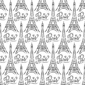 Eiffel Tower (black on white)