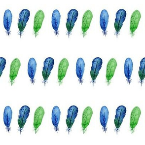 watercolor feathers in blue and green