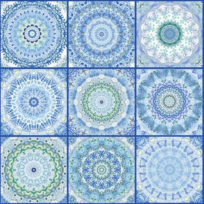 Blue ceramics tile in watercolor