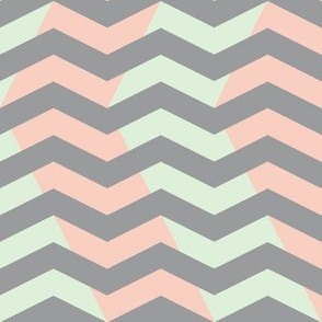 wavy chevron - grey, peach and mint