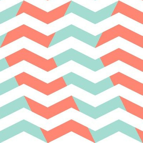 wavy chevron - mint and coral on white