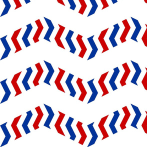 red and blue stripey chevron