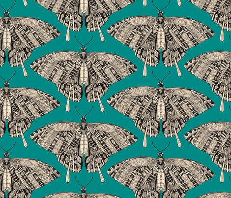 swallowtail butterfly teal black fabric by scrummy on Spoonflower - custom fabric