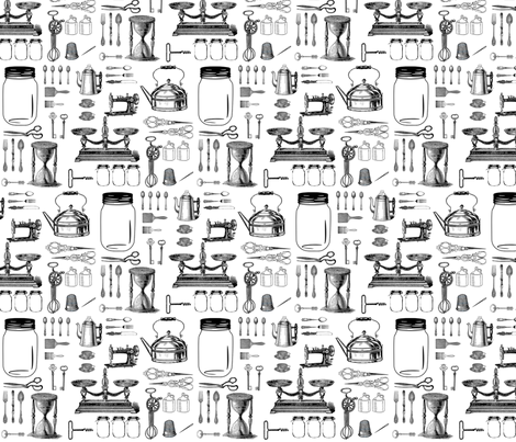 Vintage Kitchen Essentials Large fabric by janinez on Spoonflower - custom fabric