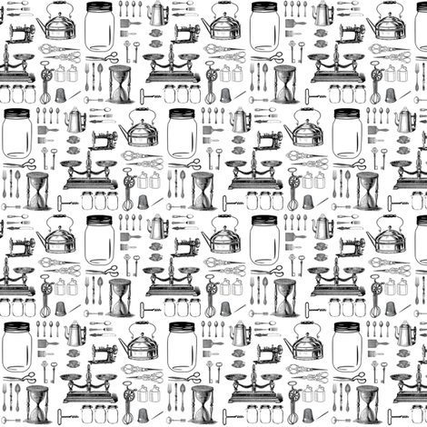Vintage Kitchen Essentials Small fabric by janinez on Spoonflower - custom fabric