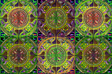 MANDALA TILES CHECK GLOW GREEN SUNNY SPRING fabric by paysmage on Spoonflower - custom fabric