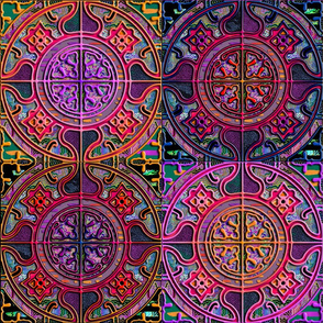 MANDALA TILES CHECK PINK ORANGE PURPLE