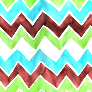 Brown Lime Aqua Zigzag
