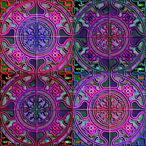 MANDALA TILES CHECK PINK PURPLE