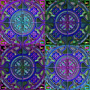 MANDALA TILE CHECK BLUE PURPLE GREEN PLUM FIG LEAVES