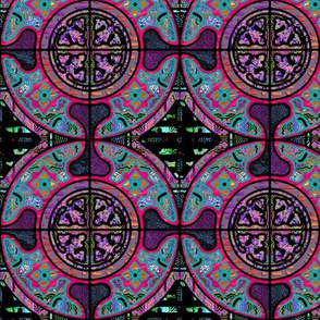 TEAL PURPLE RED HARMONY MANDALA TILES CHECK Medium scale
