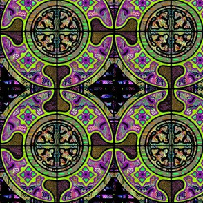 LIME FUCHSIA  FRUITY HARMONY MANDALA TILES CHECK Medium scale