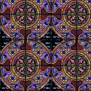 PURPLE SUNSET HARMONY MANDALA TILES CHECK Medium scale