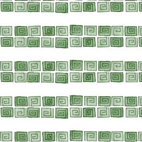 Greek Spiral - green mono