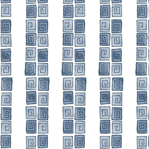 Greek Spiral - blue-grey mono vertical