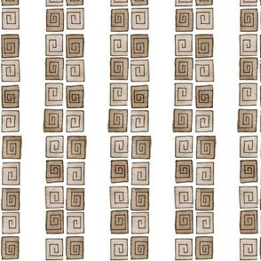 Greek Spiral Stripe - taupe mono vertical