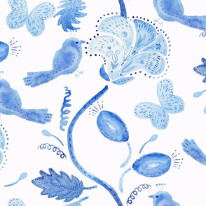 birds,flowers and buterfly in blue watercolor