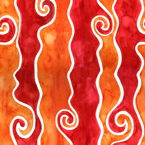 Red Orange Waves - vertical