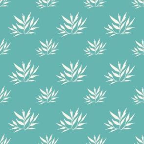 Botanical Leafy Cream Turquoise