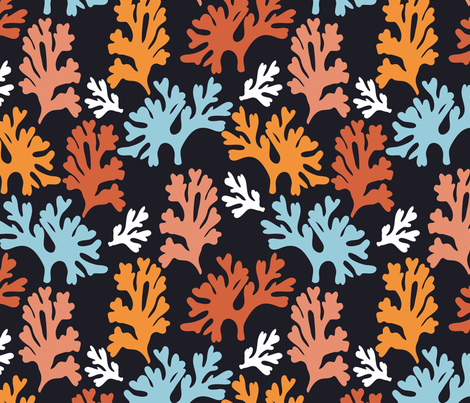 Plankton Leaves Orange fabric - kirstenkatz - Spoonflower
