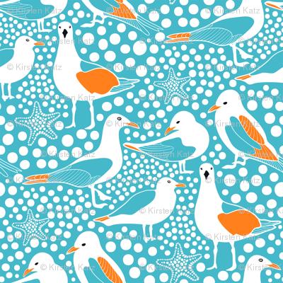 Sea Birds Aqua