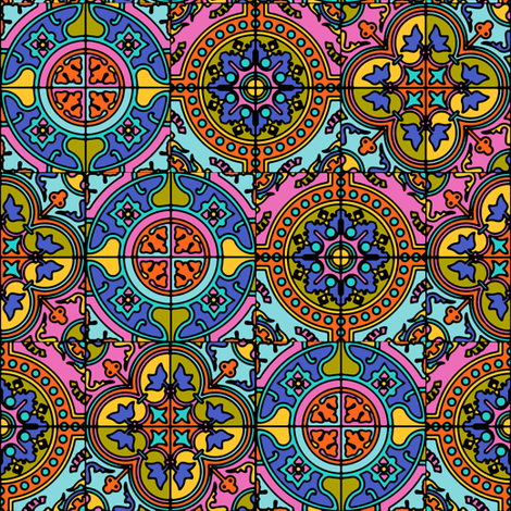 COLORFUL AZULEJOS STYLE TILES  original Brown blue pink fabric by paysmage on Spoonflower - custom fabric