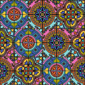 COLORFUL AZULEJOS STYLE TILES  original Brown blue pink