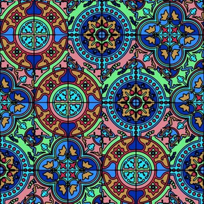 COLORFUL AZULEJOS STYLE TILES blue aqua green