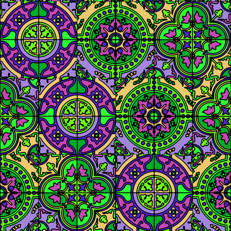 COLORFUL AZULEJOS STYLE TILES  PURPLE GREEN CORN YELLOW fabric by paysmage on Spoonflower - custom fabric
