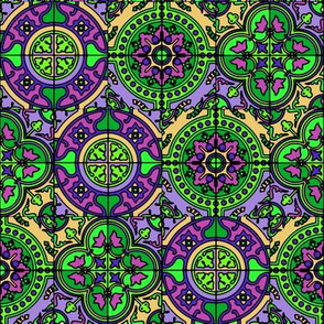 COLORFUL AZULEJOS STYLE TILES  PURPLE GREEN CORN YELLOW