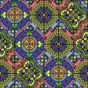 COLORFUL AZULEJOS STYLE TILES yellow purple green pink