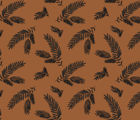 Pine Sprig - Charcoal,  Copper fabric by fernlesliestudio on Spoonflower - custom fabric
