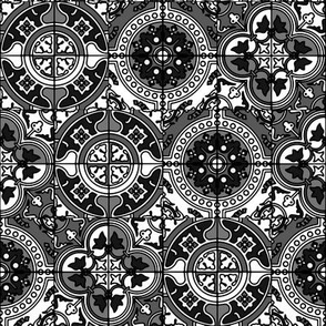 AZULEJOS STYLE TILES BLACK AND WHITE BW