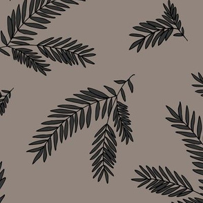 Pine Sprig - Taupe & Charcoal