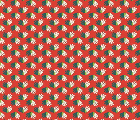 Green cream beach plants on red fabric space tempo for Red space fabric